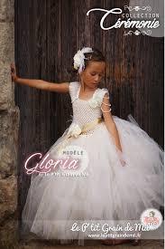 ensemble bustier satin et jupe tutu cérémonie fille ivoire or mariage