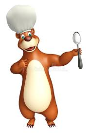 animation cuisine character with dinner plate and chef hat stock