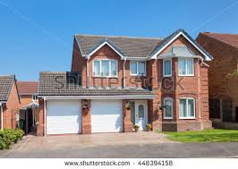 House With Garage Traditional English Detached House Garage Stock Photo 502624306