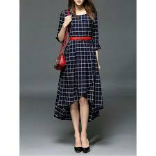 dress design images navy blue cheks design western dress