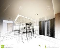 Kitchen Design Sketch Abstract Sketch Design Of Interior Kitchen Stock Illustration