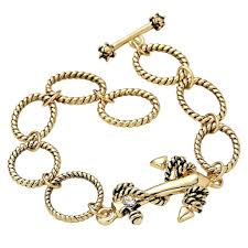 bracelet with anchor charm images Gold color anchor charm toggle bracelet rosemarie collections jpeg