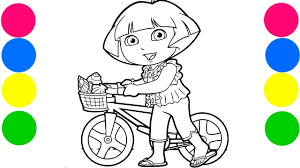 dora the explorer my bicycle coloring pages for kids art colors