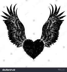 heart with angel wings sketches free here