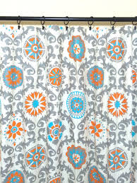 Suzani Curtain Orange And Turquoise Suzani Curtain Panels 25 By Thebluebirdshop