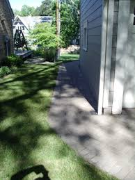 the completed pathway connecting the backyard patio to the