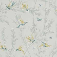wallpaper with birds and lime waters edge wallpaper