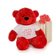 valentines bears 4ft size teddy wearing happy s day shirt