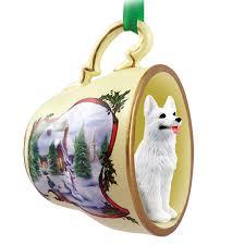 german shepherd ornament figurine teacup white