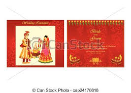 indian wedding invite vector illustration of indian wedding invitation card vector clip