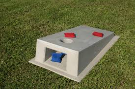 concrete outdoor corn hole bean bag games perfect for colleges