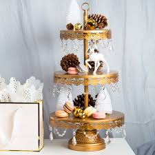 3 tier crystal draped antique gold cupcake stand amalfi decor au