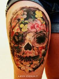 beautiful flowers and skull tattoos in 2017 photo