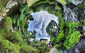 nature landscape trees clouds panoramic sphere fisheye lens