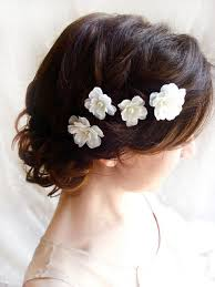 bridal hair clip white flower hair pins white bridal hair accessories fallen
