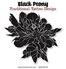 vector sketch peony traditional tattoo design stock vector