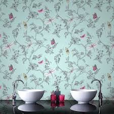 17 stylish bathroom wallpaper ideas victorian plumbing graham brown nature trail duck egg bathroom wallpaper 33 002 17