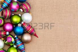 assortment of bright colorful ornaments laid out on