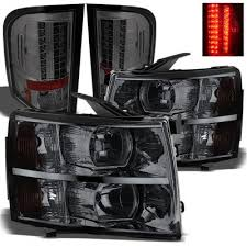 2008 chevy silverado led tail lights chevy silverado 2007 2013 smoked headlights and led tail lights