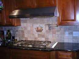 Backsplash Ideas Cherry Cabinets Square Cream Tile Back Splash With Panel Ornament With Fruits