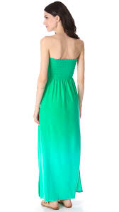 juicy couture ombre velour strapless maxi dress in green lyst