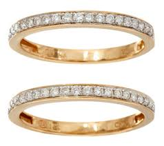 diamond set white diamond set of 2 band rings 14k gold 1 3 cttw by affinity