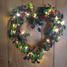 gisela graham twig and berry wreath with led lights