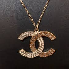 crystal necklace gold chain images Chanel cc logo necklace gold crystal quilted poshmark jpg