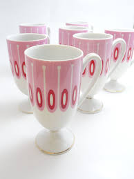 50s vintage coffee mugs 7 pink u0026 red retro pedestal cups white