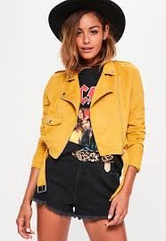 retro motorcycle jacket faux suede belted biker jacket mustard missguided