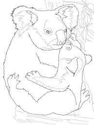 mother koala hugging baby coloring free printable
