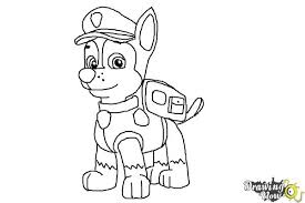 how to draw coloring pages how to draw chase from paw patrol drawingnow