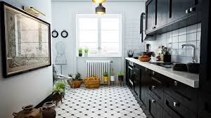 Modern Kitchen Designs 2013 White Interior Black And White Tile Floor Kitchen With Regard To