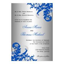 royal blue and silver wedding royal blue and silver flourish wedding card zazzle