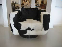 Club Swivel Chairs by Pair Of Cowhide Swivel Chairs With Chrome Base At 1stdibs