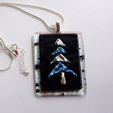 hanukkah bush for sale hanukkah bush christmas silver and blue dichroic fused glass jewelry p