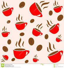 coffee red cup and bean seamless wallpaper royalty free stock