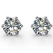diamond stud earrings for men aliexpress buy 1ct 6 prong basket genuine earrings nscd