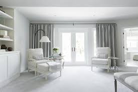 Curtains In A Grey Room White And Grey Bedroom Sitting Area Transitional Bedroom
