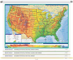 Map Of United States Physical Features by World U0026 U S Advanced Physical Political 3 Wall Map Combo Rand