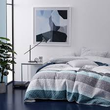 Blue Quilted Coverlet A Quilted Panel Design That Incorporates Contemporary Patterns