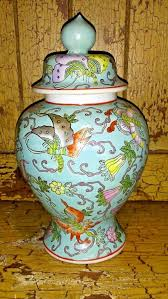 Antique China Vases Vintage Porcelain Chinese Flowers Butterflies Lidded Vase 9 5