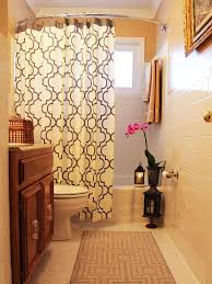bathroom tinny bathroom shower with slide curtain and corner