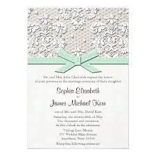 Vintage Lace Wedding Invitations Monogrammed Mint Vintage Lace Wedding Invitations Zazzle Com