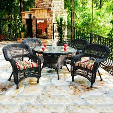 Outdoor Dining Room Shop Tortuga Outdoor Portside 5 Piece Dark Roast Glass Patio