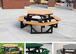 recycled plastic picnic tables amazon com jayhawk plastics hex recycled plastic commercial picnic