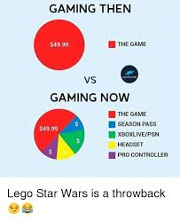 Lego Meme - gaming then the game 4999 vs hai player gaming now the game season