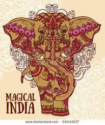 beautiful handdrawn tribal style elephant stock vector