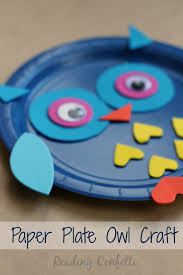 paper plate owl craft reading confetti