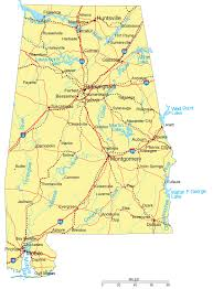State Map Of Georgia by Large Detailed Road Map Of Alabama With Cities Vidiani Com